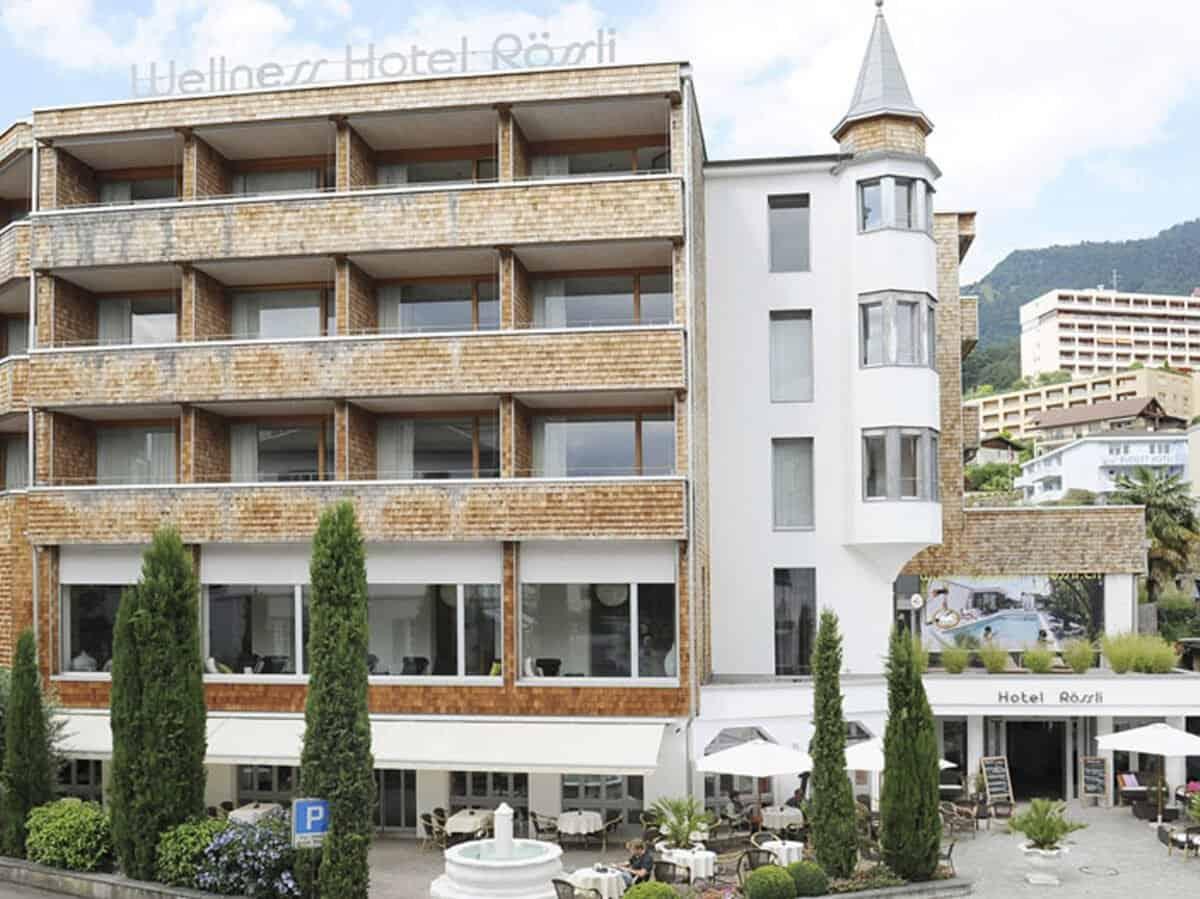 Wellness Hotel Roessli Weggis Aussenansicht Sommer