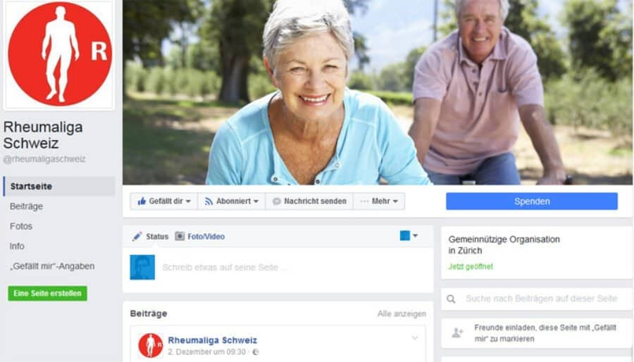 Facebook-Profil der Rheumaliga Schweiz