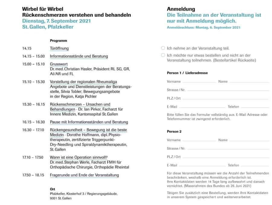 Programm und Anmeldung Gesundheitstag St. Gallen