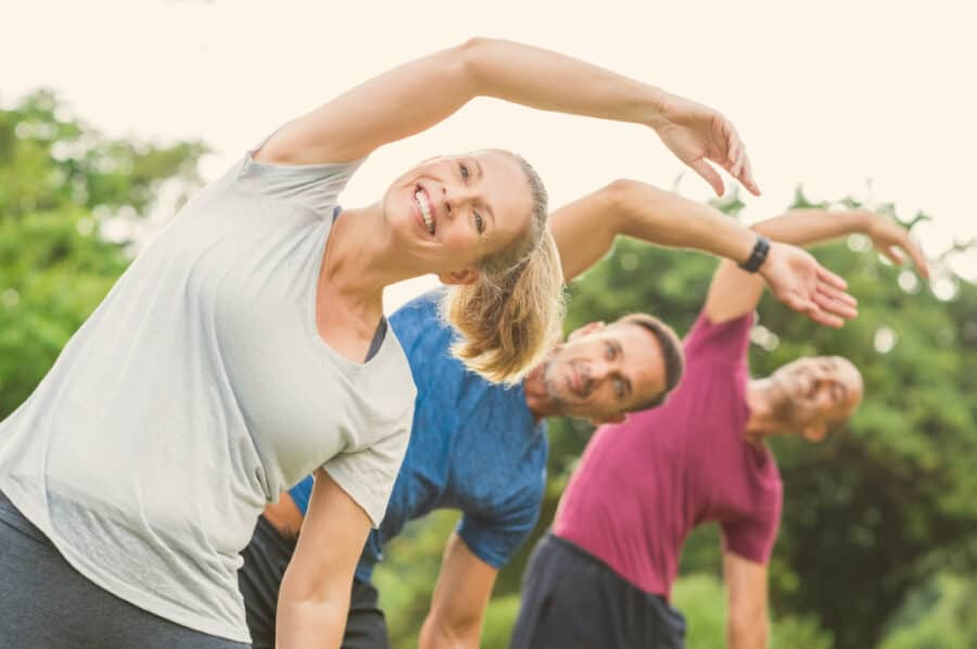 People doing stretching exercise picture id658596808