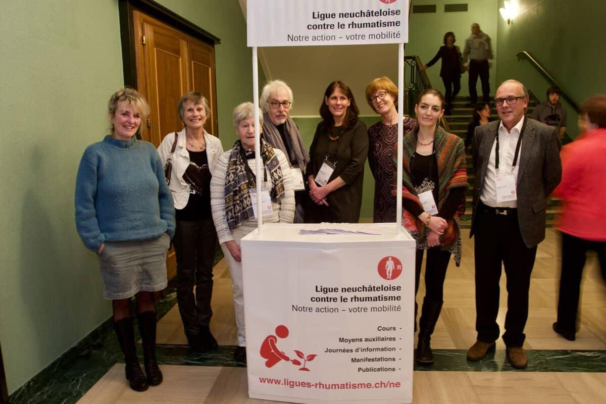 Une partie des membres du comité, de gauche à droite : Corinne Chuard - Dr Françoise Crot - Marie-Thérèse Paget - Jürg Hügli - Isabelle Jeanfavre - Dr Christiane Zenklusen - Dr Mélanie Mattart et Francis Rosset